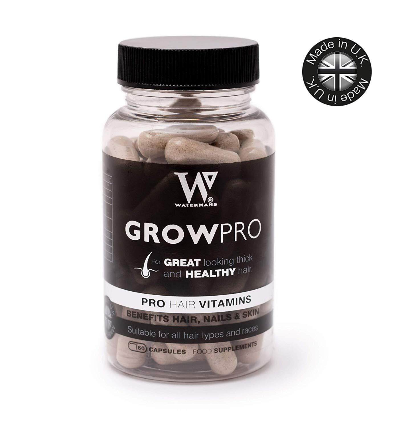 WATERMANS Best Hair Vitamins - GrowPro - Hair Growth Supplements with nail strengthener formula for longer stronger nails