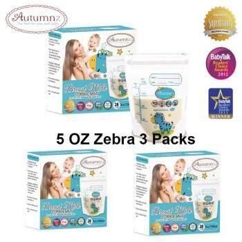 Autumnz Double ZipLock Breastmilk Storage Bag 5 oz X 3 Boxes (28 bags per box)
