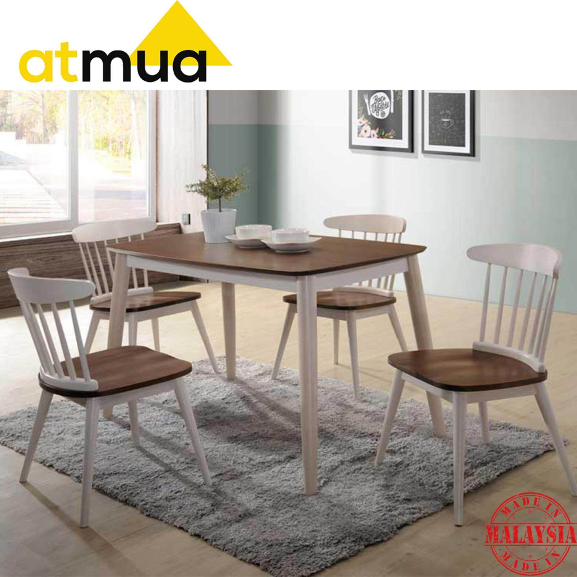 Atmua Gordon Scandinavian Dining Set (1 Table + 4 Chair) [Full Solid Rubber Wood]