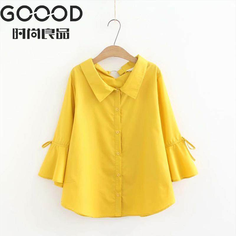 Plus Size Women Blouse Korean 3 4 flare Sleeve Shirt Yellow Office Wear Basic Elegant white loose Blouse femme summer top