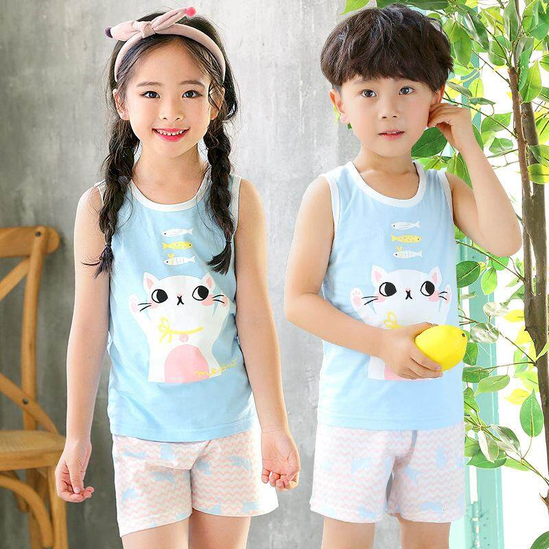 2019 Latest Design! Kids Sleeveless Set - Cute Cat eat Fish