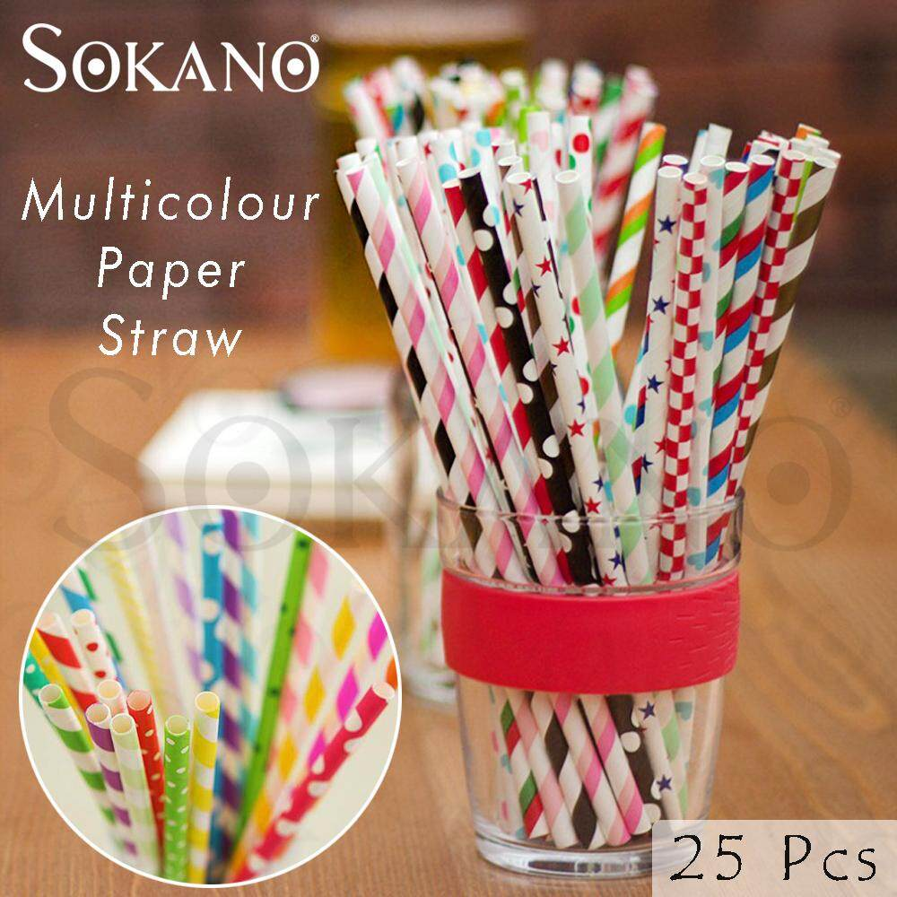 SOKANO Muticolour Paper Straw Paper Drinking Straws for Party Wedding Supplies (25 Pcs)- Buy 10 Packs FREE SHIPPING To West Malaysia