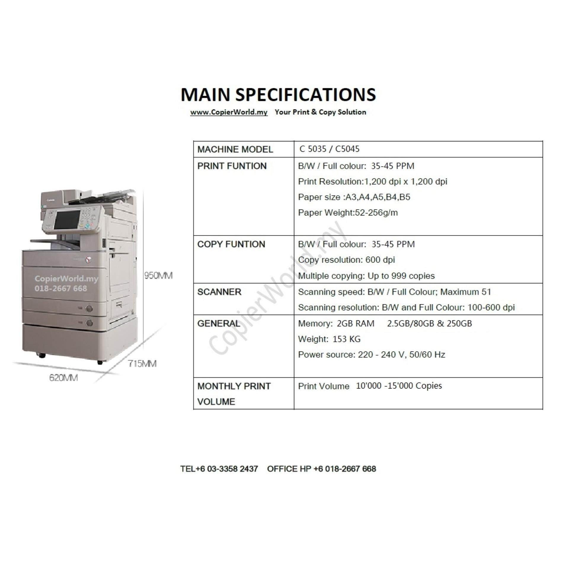 Canon Copier Photocopy  Advance C5035 3in1 Copy Print Scan Photostat