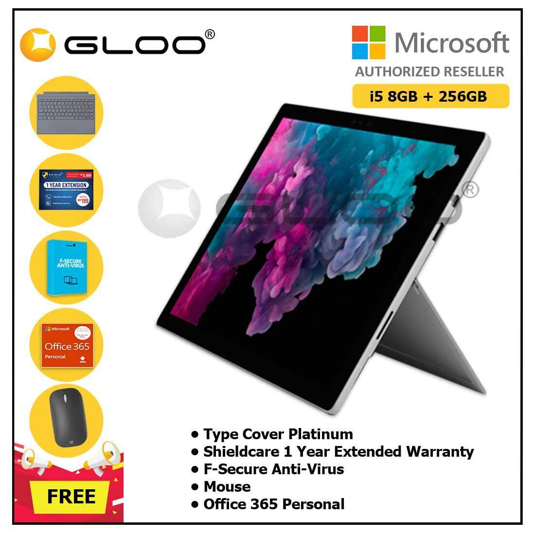 Microsoft Surface Pro 6 Core i5/8GB RAM - 256GB + Type Cover Platinum + Office 365 Personal (ESD) + Shieldcare 1 Year Extended Warranty + F-Secure EndPoint Protection + Mouse