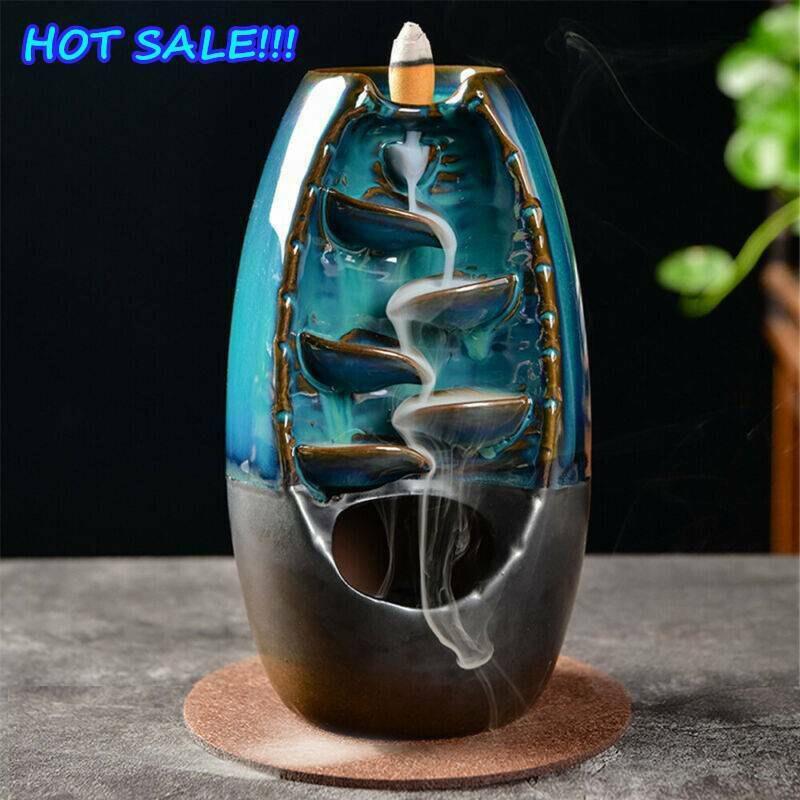 Hình ảnh Rồng gốm chảy ngược Thác nước khói hương đốt Lư Hương trang trí nội thất