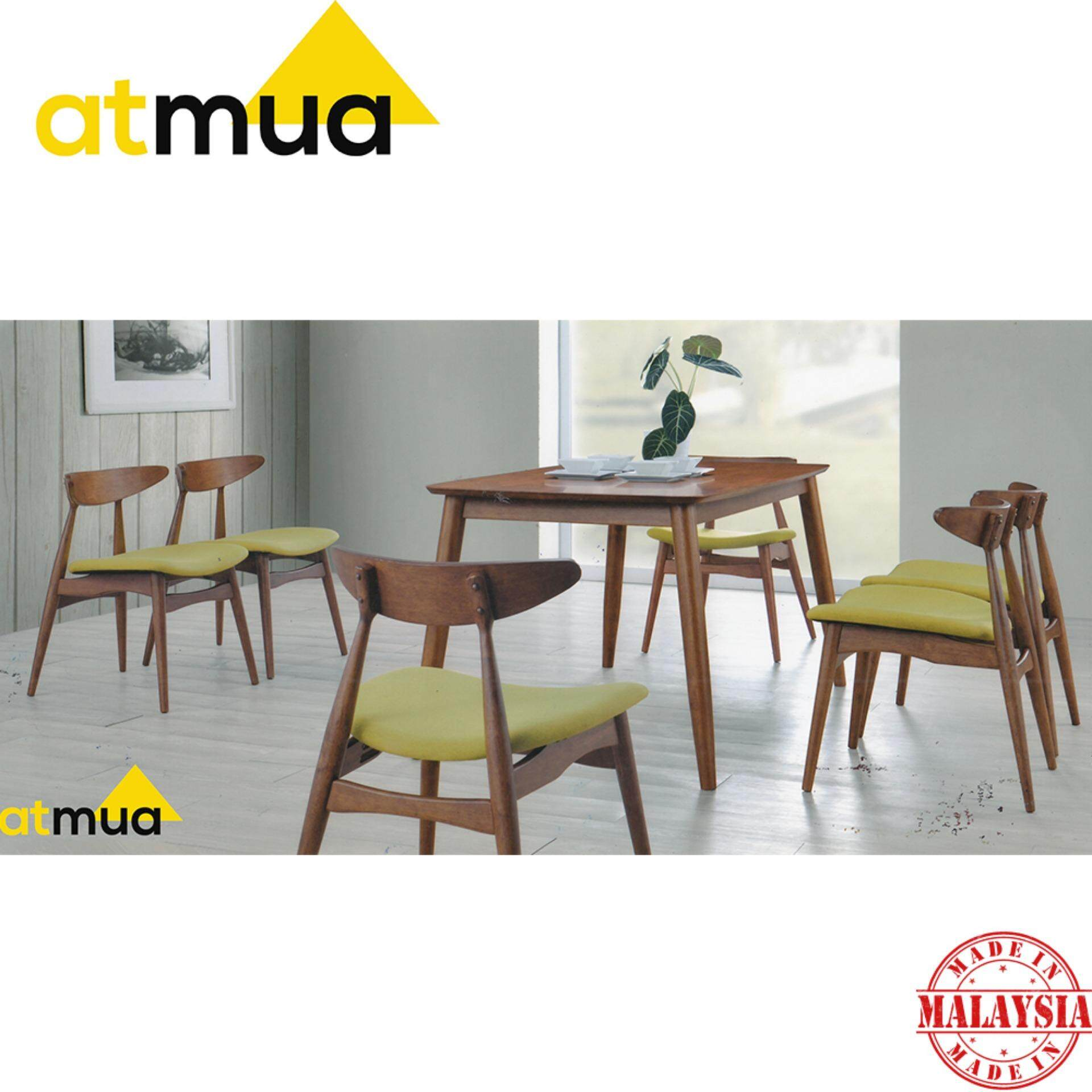 Atmua Borato Dining Set (1 Table + 6 Chair) - Scandinavian Style [Full Solid Wood]