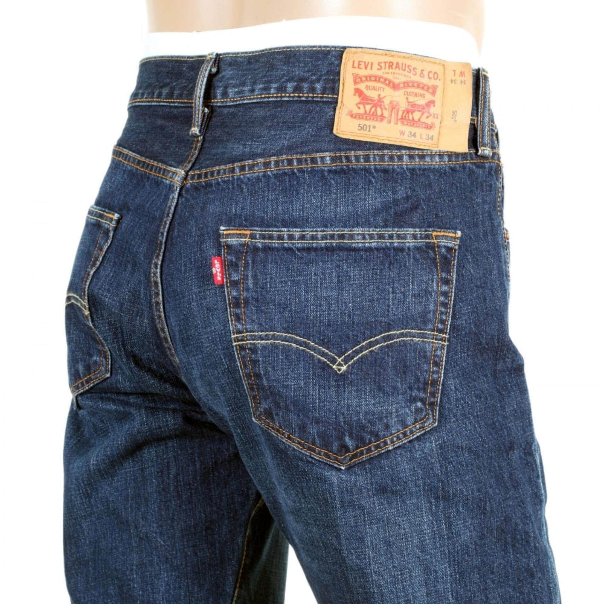 (Levis) MENS DARK BLUE WASHED 501 ORIGINAL FIT IRON STATE JEANS WITH STRAIGHT LEG REGULAR WAIST Rejected Stock On Sale