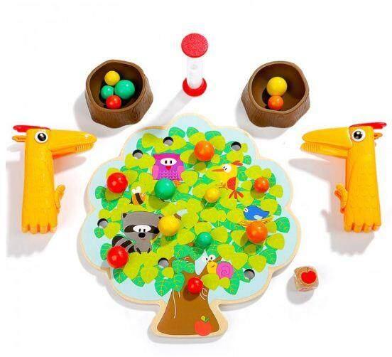 [All4kids] 23 pcs Top Bright Wooden Pecker's Fruit Fiesta Game