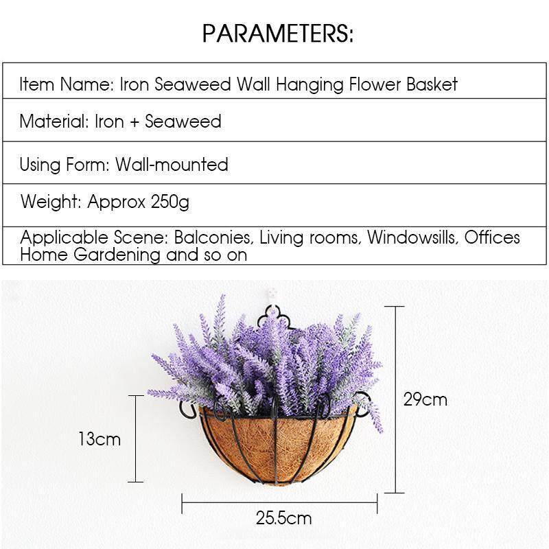 ... Besi Gantungan Dinding Keranjang Bunga Setengah Pot Tanaman Gantungan Pemegang Keranjang Hiasan Rumah Taman (Bunga