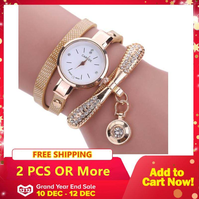 Women Leather Rhinestone Analog Quartz Wrist Watches - Beige