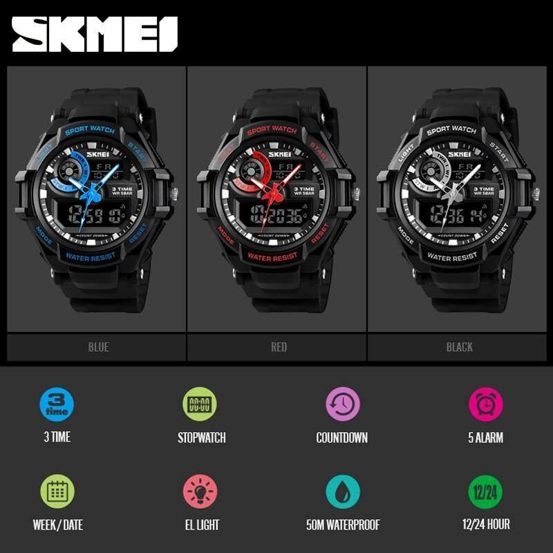 ... SKMEI Pria Fashion Olahraga Digital Jam Tangan Kasual Chronograph Alarm Countdown 3 Waktu Jam Elektronik Watch ...
