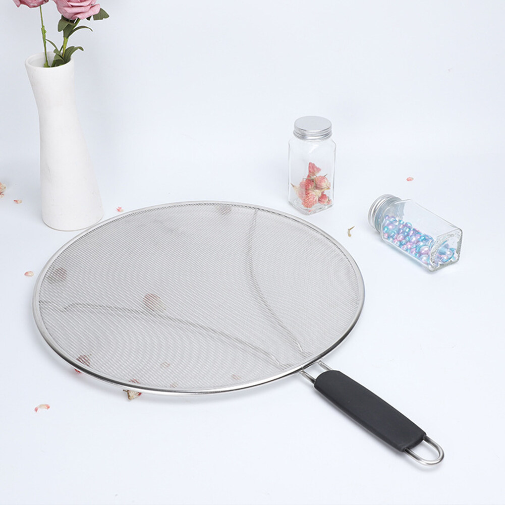 29 33cm Stainless Steel Frying Pan Oil Splatter Screen Mesh Pot Lid Cooking Tool Lazada Singapore