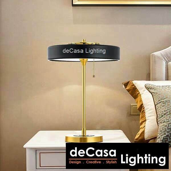 New Arrival LED Black Designer Modern Decorative Designer Table Lamp with Gold Stand DECASA (FP-T1122-BK)