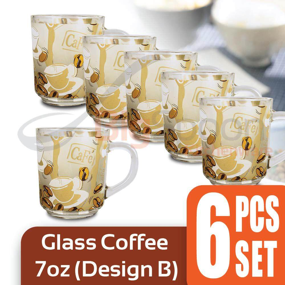 Glass Coffee Cup 7oz 6 PCS Set - Design B