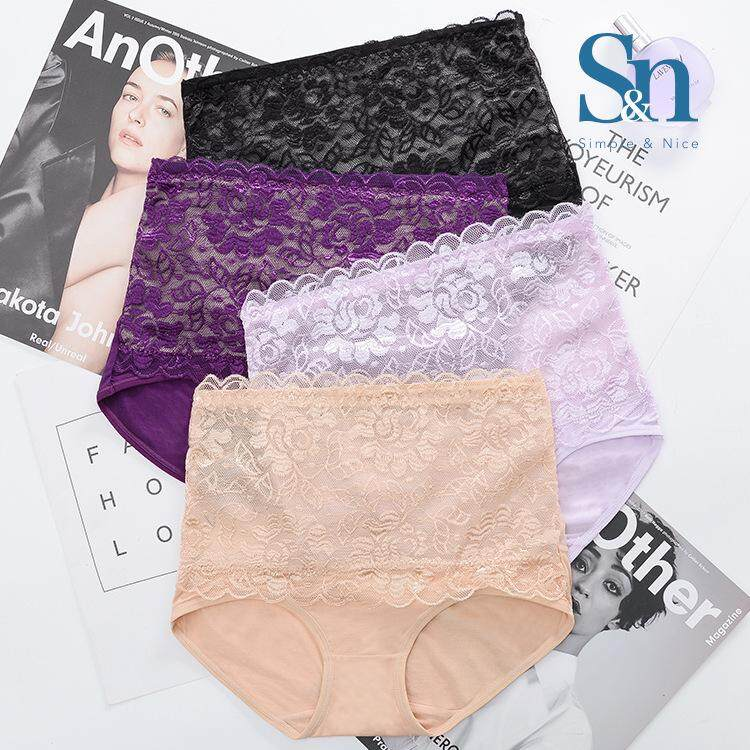 【7 Pcs Korean High Waist Premium Cotton Underwear】SIMPLE & NICE Women/Female/Girls Standard Threadwork Design Panties Underwear Inside Wear Set (M-XL) Direct From Factory