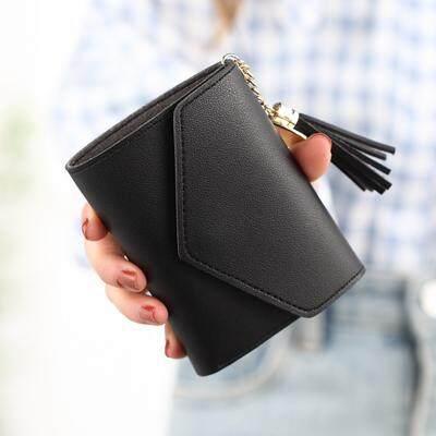 tassel fold over purse button short wallet