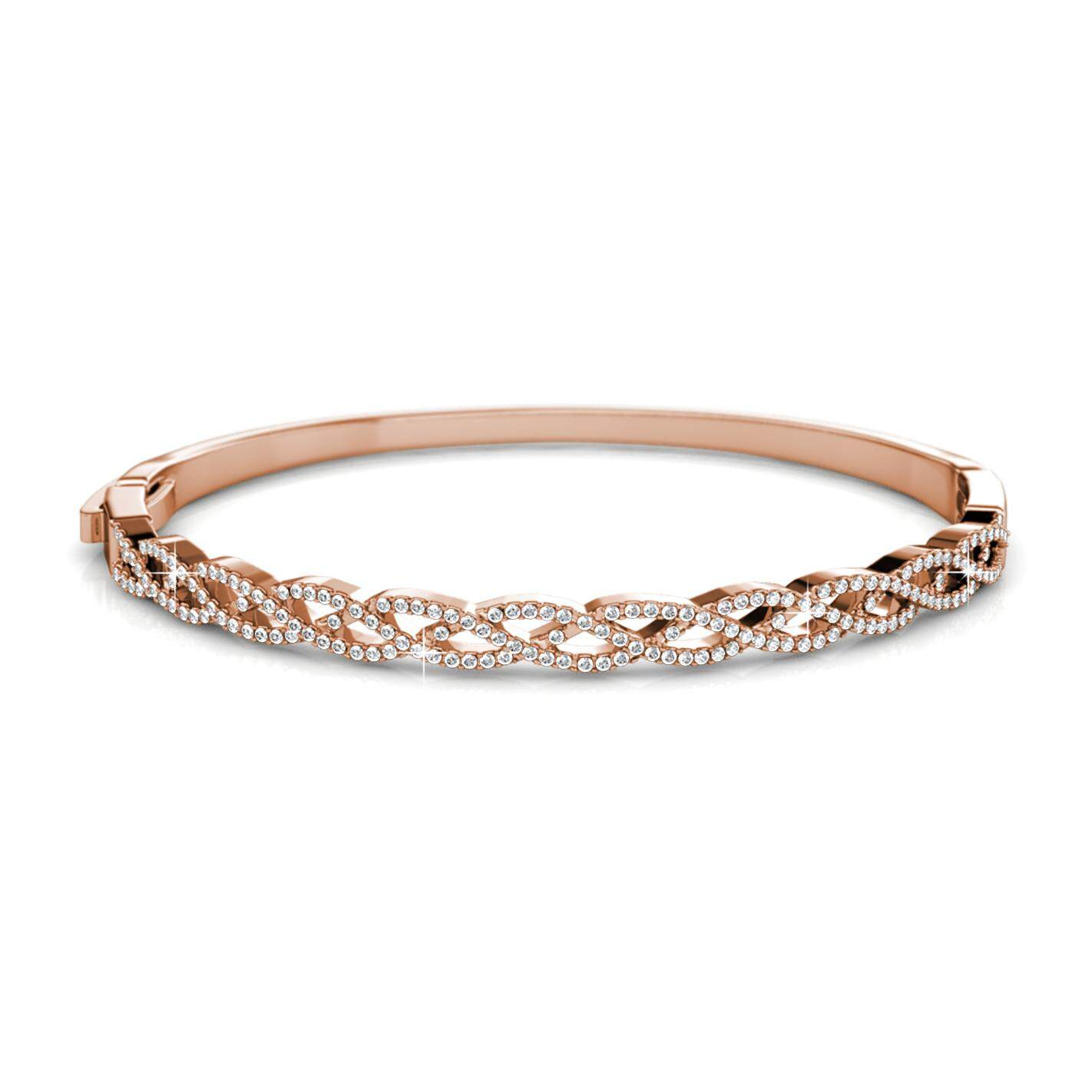 Her Jewellery Braided Bangle (White / Rose Gold) embellished with Crystals from Swarovski