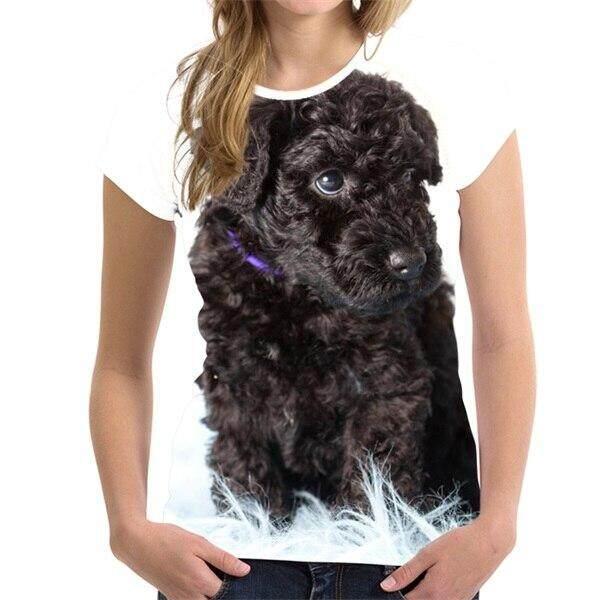ลดสุดๆ FORUDESIGNS Kawaii 3D สัตว์ Kerry Blue Terrier พิมพ์ผู้หญิง T เสื้อยี่ห้อ Designer Lady เสื้อยืดฤดูร้อนแฟชั่นเสื้อยืดระบายอากาศ