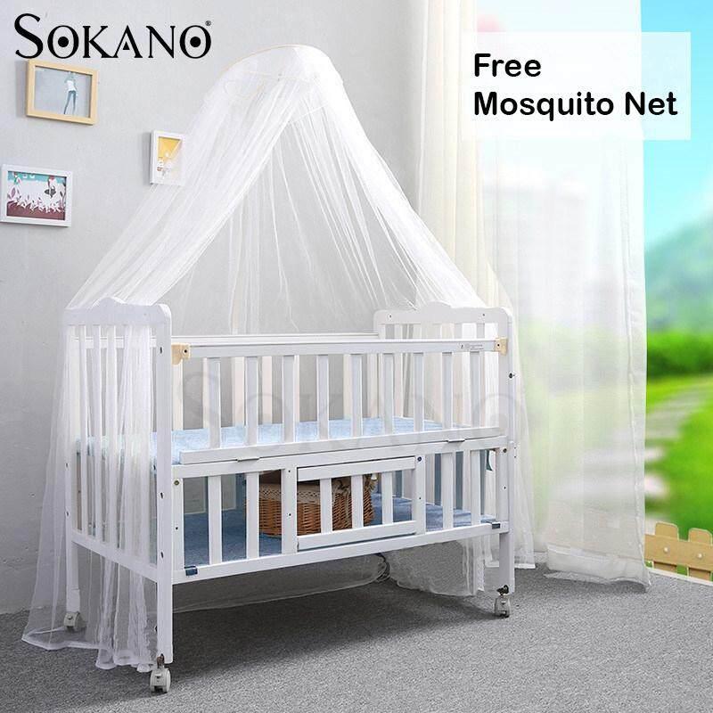 (RAYA 2019) Sokano HA298 Premium 2 in 1 Natural Easel Wooden Cradle Baby Cot (2 Tiers)