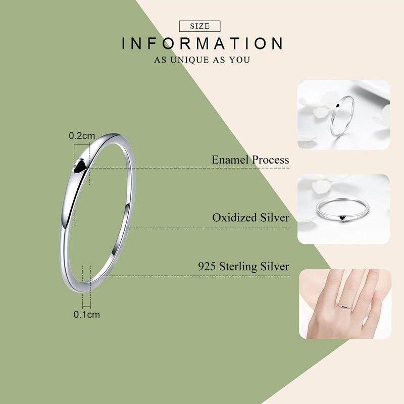 Bamoer 925 Perak Bulat Berkilau Lingkaran Murni Cincin Simpel Jantung Mengukir Cincin untuk Pertunangan Pernikahan Wanita ...