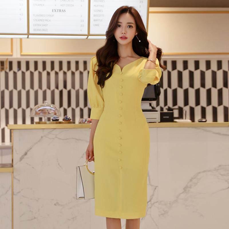 ฤดูใบไม้ผลิ 2019 ใหม่หญิงสไตล์เกาหลีแฟชั่นสลิมเสื้อแจ็กเก็ตยีนส์รุ่นยาวปานกลางมีมาดคอวีแนบสะโพกผ่าชุดเดรส