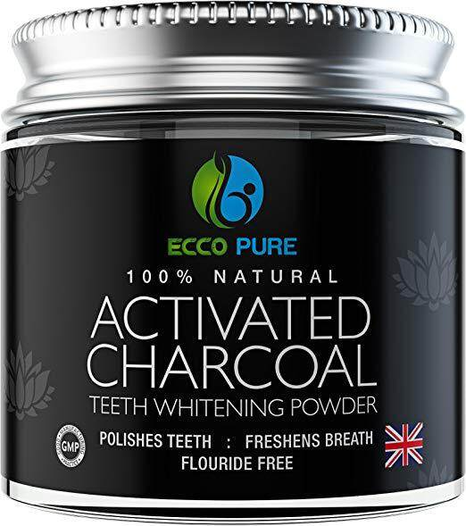 ECCO PURE Activated Charcoal Natural Teeth Whitening Powder  Efficient Alternative to Charcoal Toothpaste, Strips, Kits, Gels