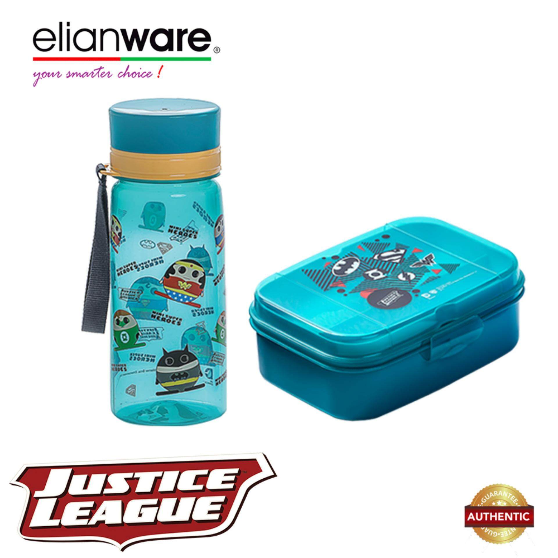 Elianware DC Justice League Mini Superheroes Lunchbox & Water Tumbler Value Set