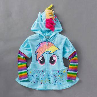 Harga 0-8Y Girls Kids Children Hoodie My Little Pony Wings SweatshirtCoat Jacket, Light Blue Skater Dress