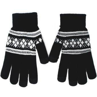 Harga 1 Pair of Unisex Touch Screen Sensitive Gloves Knitted Winter WarmChristmas Glove Black