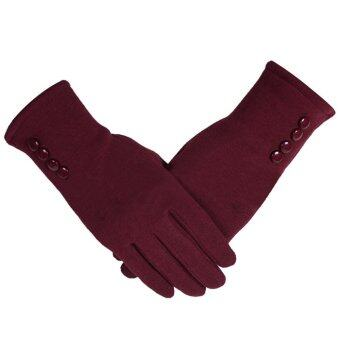 Harga 1 Pair of Women Touch Screen Sensitive Gloves Cashmere Solid ColorWinter Warm Glove Red