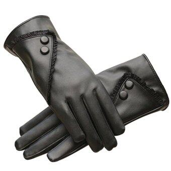 Harga 1 Pair of Women Touch Screen Sensitive Gloves PU Lace Solid ColorWinter Warm Glove Black