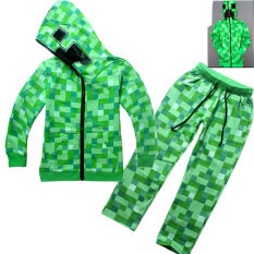ขาย 2 Pieces Minecraft Boys 4 14 Years Old Fashion Pant Thin Cotton Sweaters Color Green Hot Pet ผู้ค้าส่ง