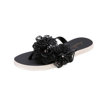 Harga 2015 New style hollow camellia flower slippers flat jelly thongsandals drag small fragrant flowers beach sandals and slipperswomen (Black)