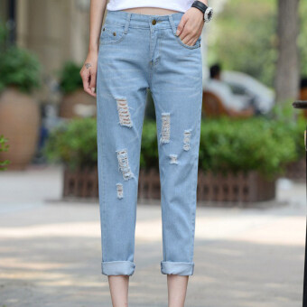 2016 New Fashion Summer Style Women Jeans ripped Holes Harem Pants Jeans Slim vintage boyfriend jeans