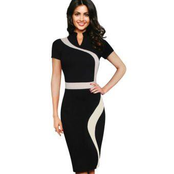 Harga 2016 sexy illusion slim fashion mesh women slim pencil dress (Green spell white green/white) (Green spell white green/white)