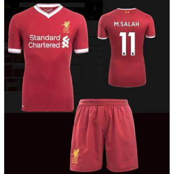2017-2018 Liverpool jersey Home Kit Jersey NO.11 M.SALAH footballjersey soccer jersey with original logo&free shorts