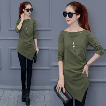 2017 autumn dress Top Women's Korean-style waist Slimming effect does not rule at hem bottoming shirt Spring and Autumn long-sleeved t-shirt Plus-sized(Dark green color(send necklace))