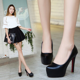 2017 autumn New style Korean-style fashion waterproof Taiwan highwith shoes shallow mouth pointed high-heeled shoes fine withprincess shoes (Red) - 2