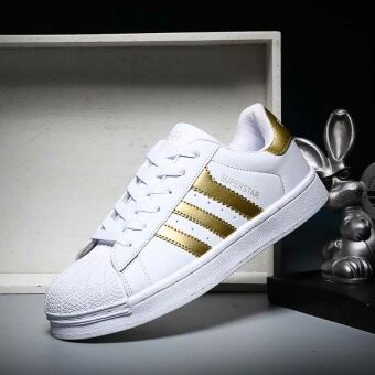 Harga 2017 Classic Inspired addidas Superstar Sneakers Canvas Shoes White-Gold