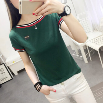 2017 Harajuku summer Korean-style Women's Slim fit word collarbottoming shirt Top short-sleeved white T-shirt female wild (736 *green)