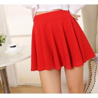 2017 Korean Colourful Pleated Skirt / Skirt With Shorts-Red