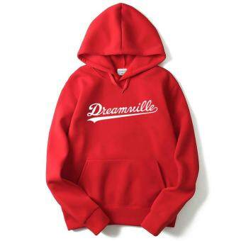 Harga 2017 New Dreamville Records Hoodies Sudaderas Hombre Men's HoodedSweatshirt Cotton Tracksuit Brand Clothing(red)