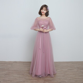 2017 New style bridesmaid dress wedding sisters dress Slimmingeffect Korean long section of bandage with red bean paste colorsmall dress bridesmaid dress (E)