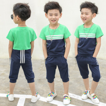 Harga 2017 New style children's clothing short-sleeved 3 suit 4 shorts5-Year-Old Summer 6 children 7 years old 8 boys summer boys clothes(Dark blue color)