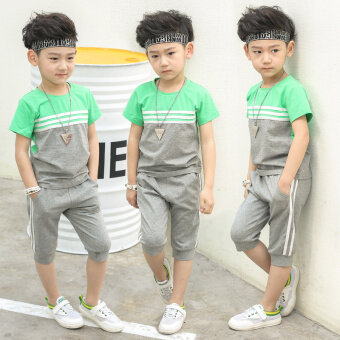 Harga 2017 New style children's clothing short-sleeved 3 suit 4 shorts5-Year-Old Summer 6 children 7 years old 8 boys summer boys clothes(Gray)