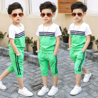 Harga 2017 New style children's clothing short-sleeved 3 suit 4 shorts5-Year-Old Summer 6 children 7 years old 8 boys summer boys clothes(Green)