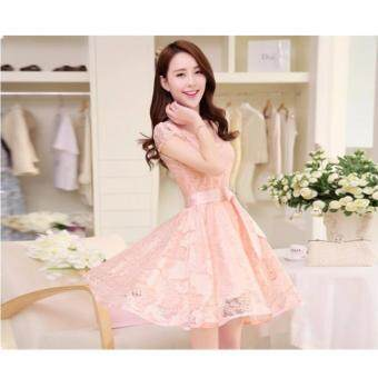 Harga 2017 New Style Elegant Women Ladies Summer Lace Floral Mini DressShort Sleeve Dress Bridesmaids Evening Dresses Party Dress Pink