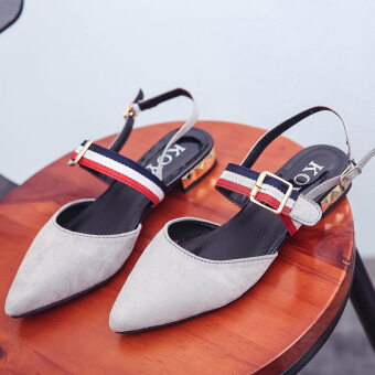 2017 summer Korean version of the new suede pointed sandals shallowmouth low-heeled a word buckle Spell color hollow shoes tide (Gray) Price Malaysia