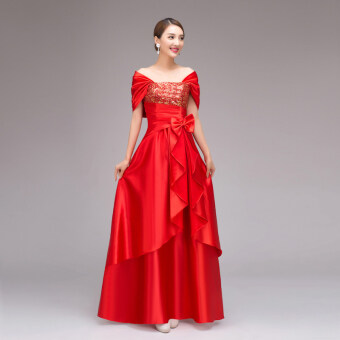2017 the new graduation toastmaster evening dress summer long section of female choral service costume costumes dance (Red)