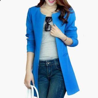2017 Women Blazer Fashion Straight Slim Single Breasted Long Casual Suit Jacket Blazer (blue)